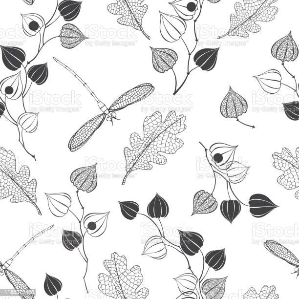 Seamless floral pattern with dragonflies on white monochrome nature vector id1188372486?b=1&k=6&m=1188372486&s=612x612&h=eg3nlgd wxmilon8kqh7qffdv0umbzzti8x3surt ys=