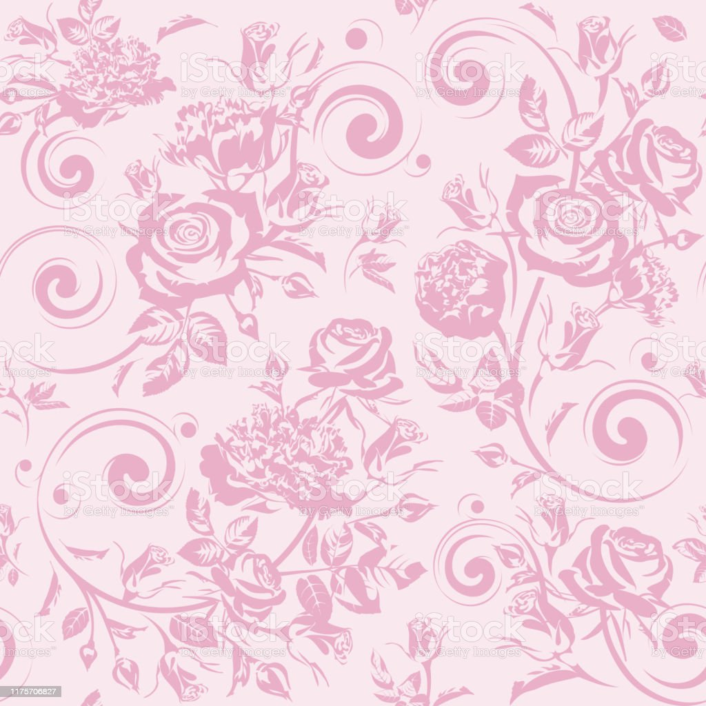 Seamless Floral Pattern With Flowers Pink Roses And Peonies On