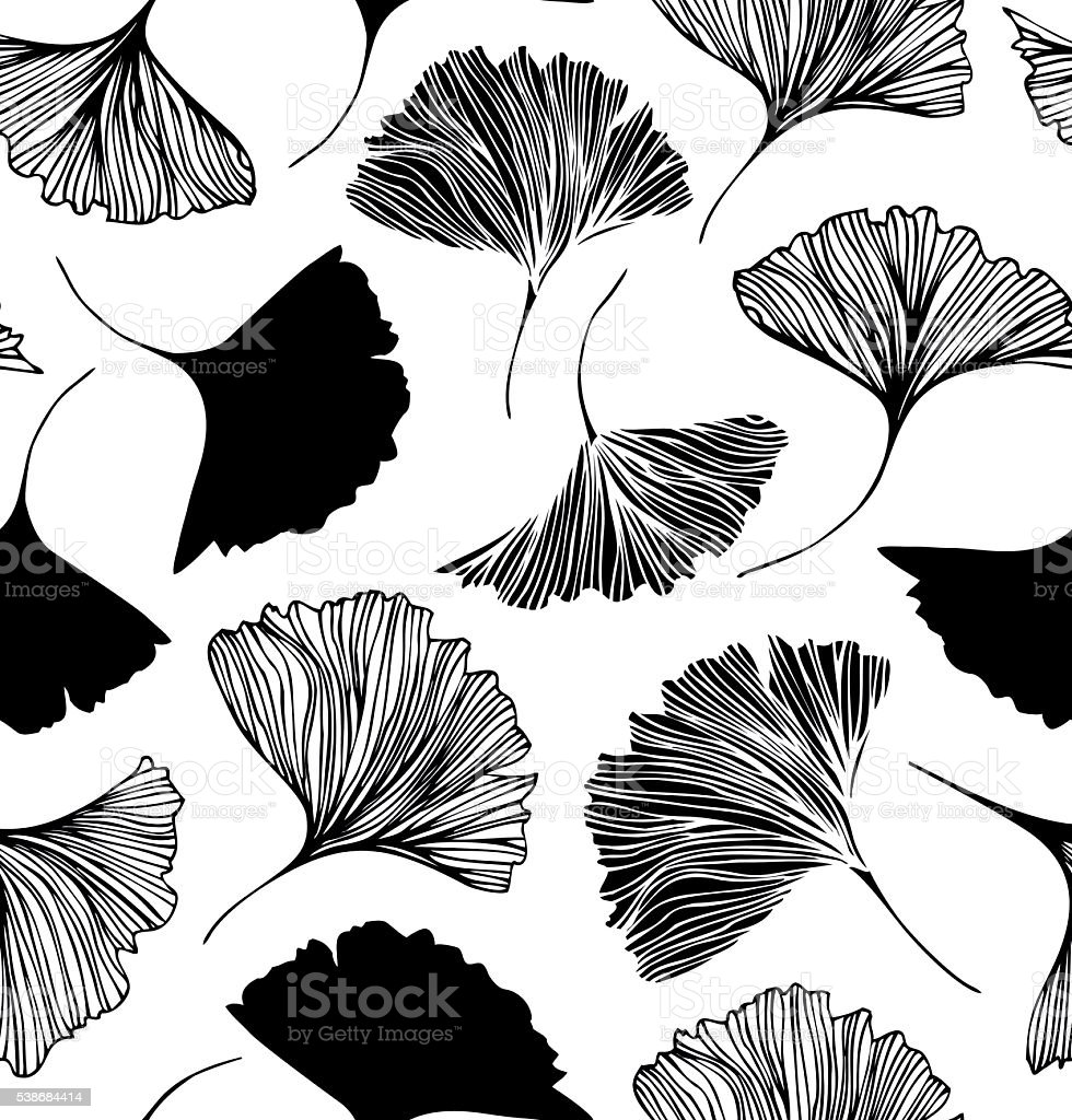 Seamless floral pattern with Ginkgo leaves. vector art illustration
