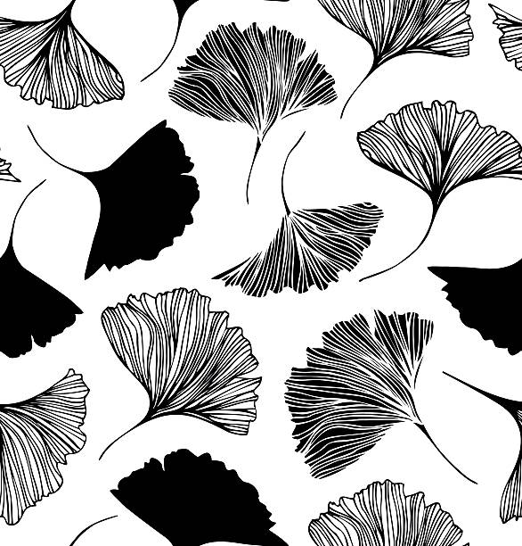 Seamless floral pattern with Ginkgo leaves. Seamless floral pattern with Ginkgo leaves. ginkgo stock illustrations