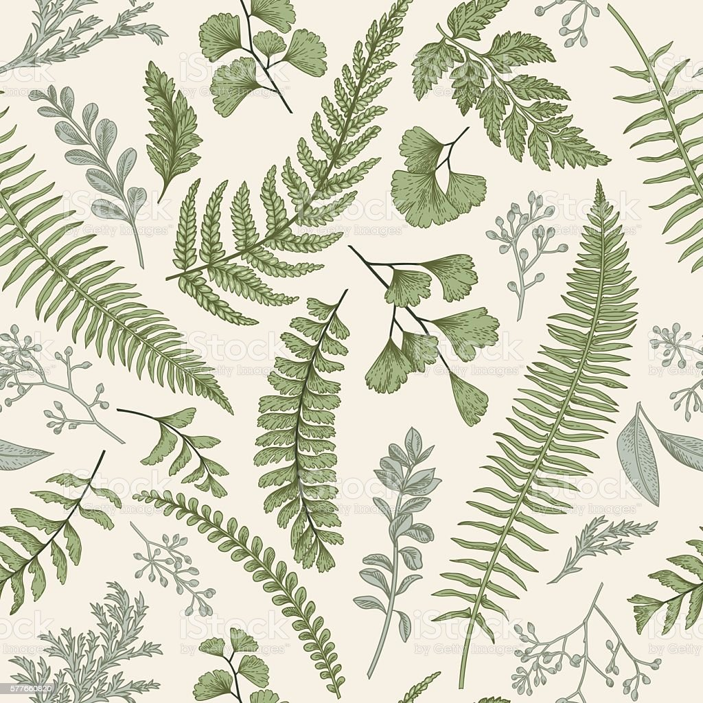 Seamless floral pattern with herbs and leaves.