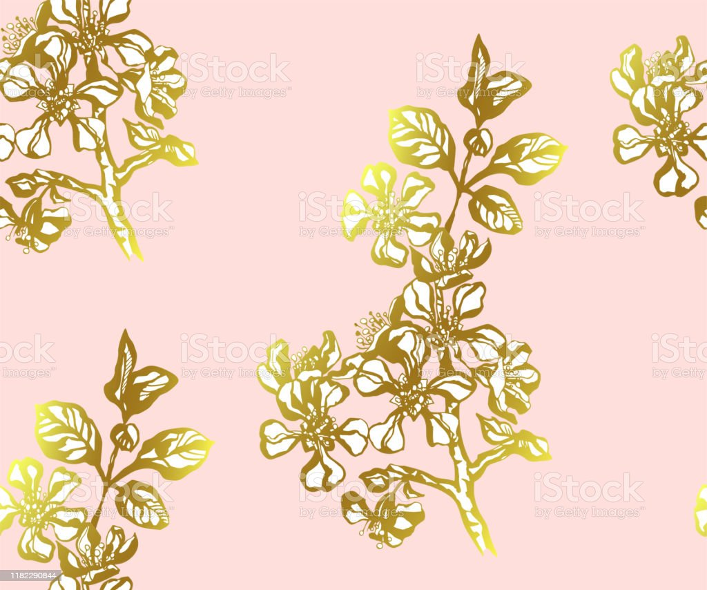 Seamless Floral Pattern With Japanese Quince Flowers And