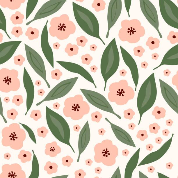 illustrazioni stock, clip art, cartoni animati e icone di tendenza di seamless floral pattern with leaves - pesche bambino