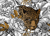 Leopard and peonies. Seamless floral pattern with animals and garden flowers. Modern decor Beast style. Vector illustration. Template for paper, textile, wallpaper. Black, white and gold foil.