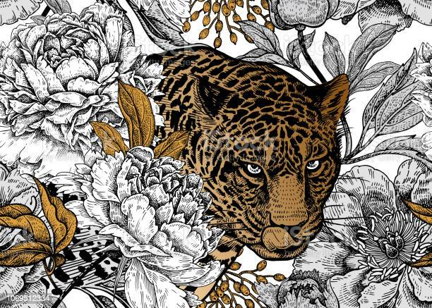 Seamless floral pattern with leopard and peonies vector id1069512334?b=1&k=6&m=1069512334&s=612x612&h=2dyfwgwdytgz jdfvhbf3a8fq3i8cda41f0iys76rya=