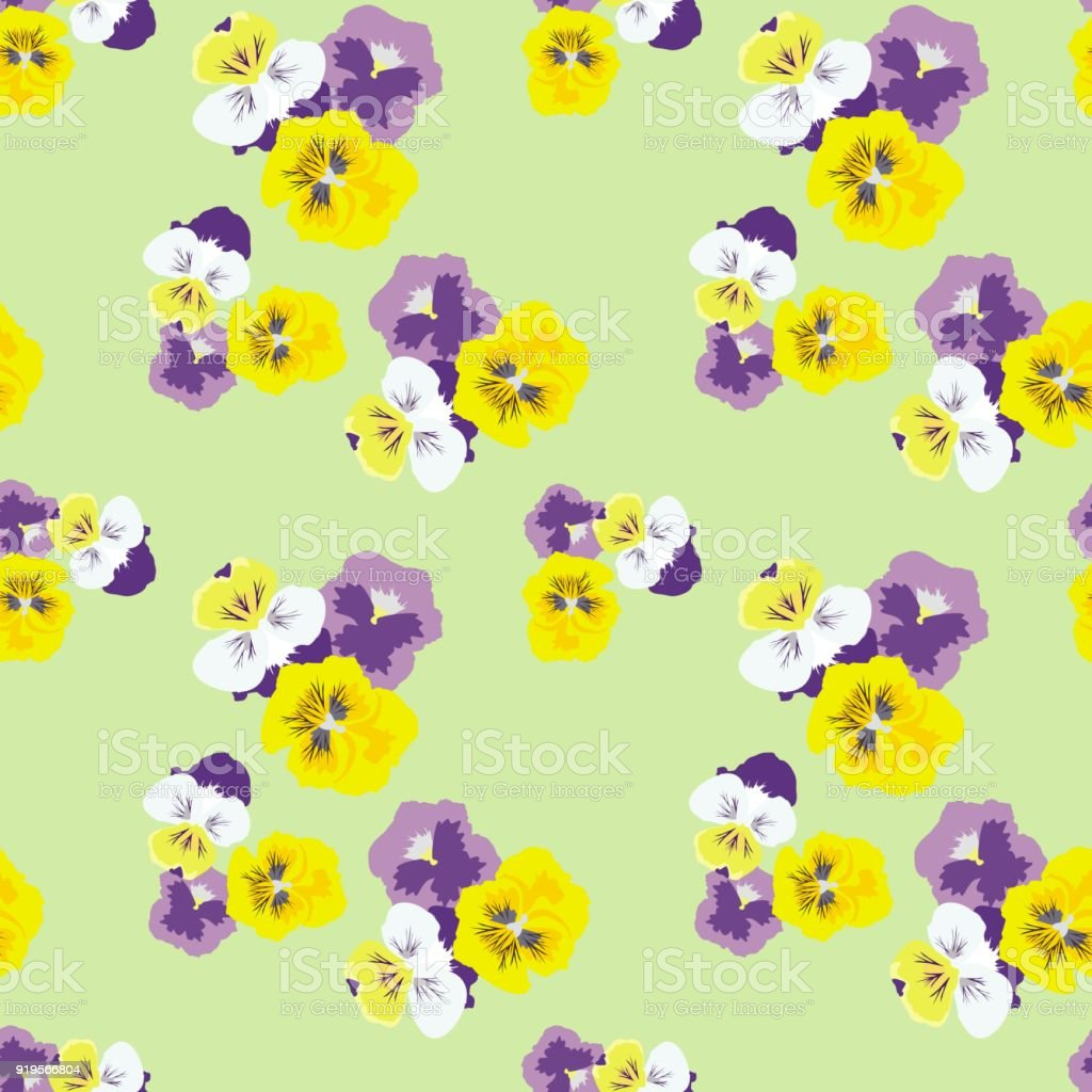 Seamless Floral Pattern With Pansies On A Light Green Background Delicate Spring Fashionable For