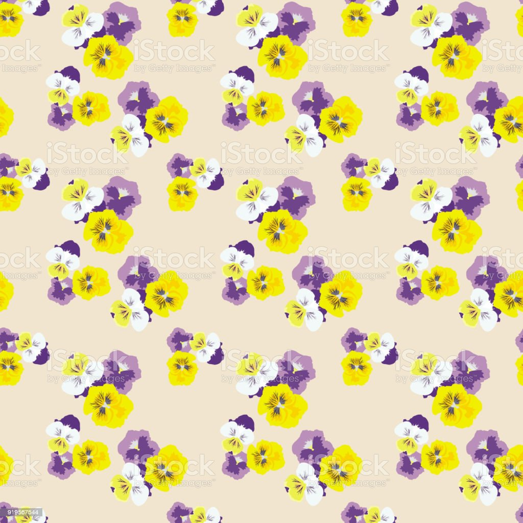 Seamless Floral Pattern With Pansies On Beige Backgrounddelicate