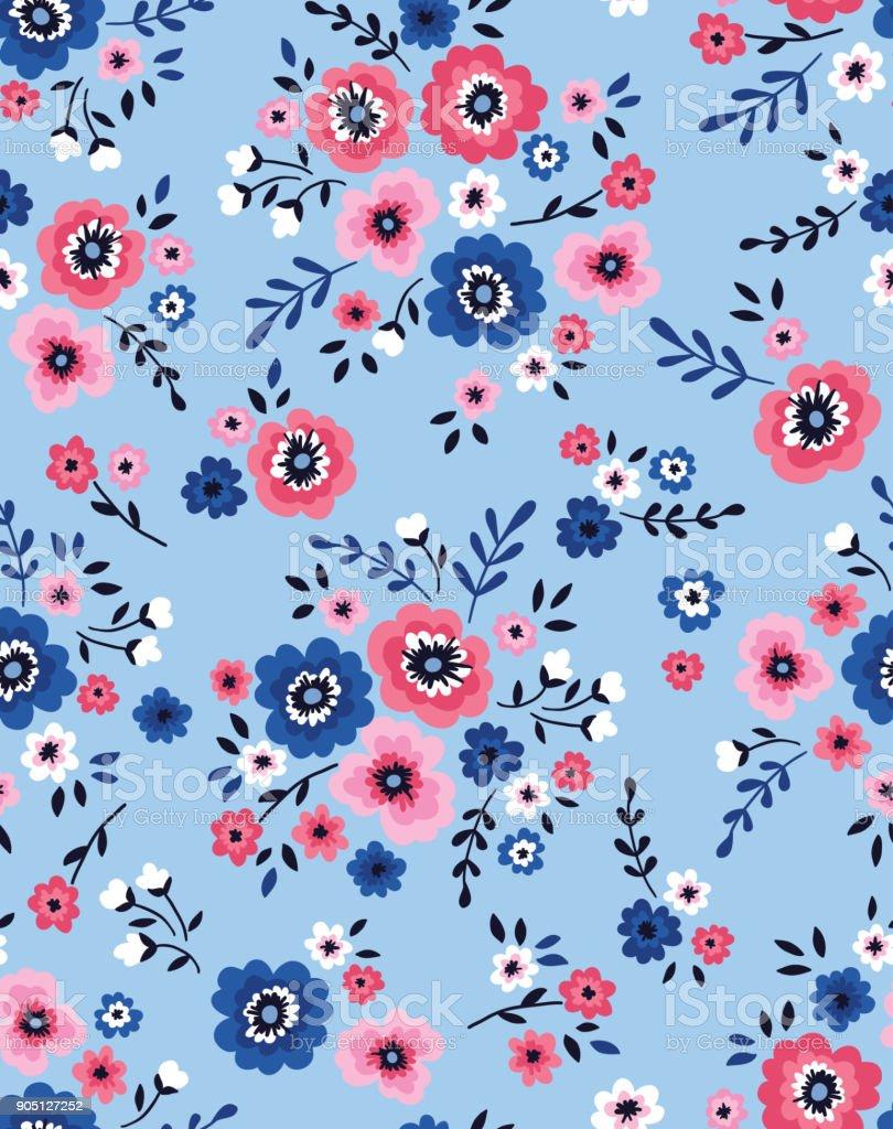 Patrón floral transparente con flores rosas y blancas - ilustración de arte vectorial