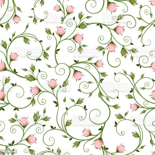 Seamless floral pattern with pink rosebuds vector illustration vector id961395948?b=1&k=6&m=961395948&s=612x612&h=01kzyxdpbhjryjmnnbtw5fwpw7zcvkdsrzhyb6neole=