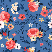 Vector blue seamless floral pattern with coral and yellow roses, peonies and branches