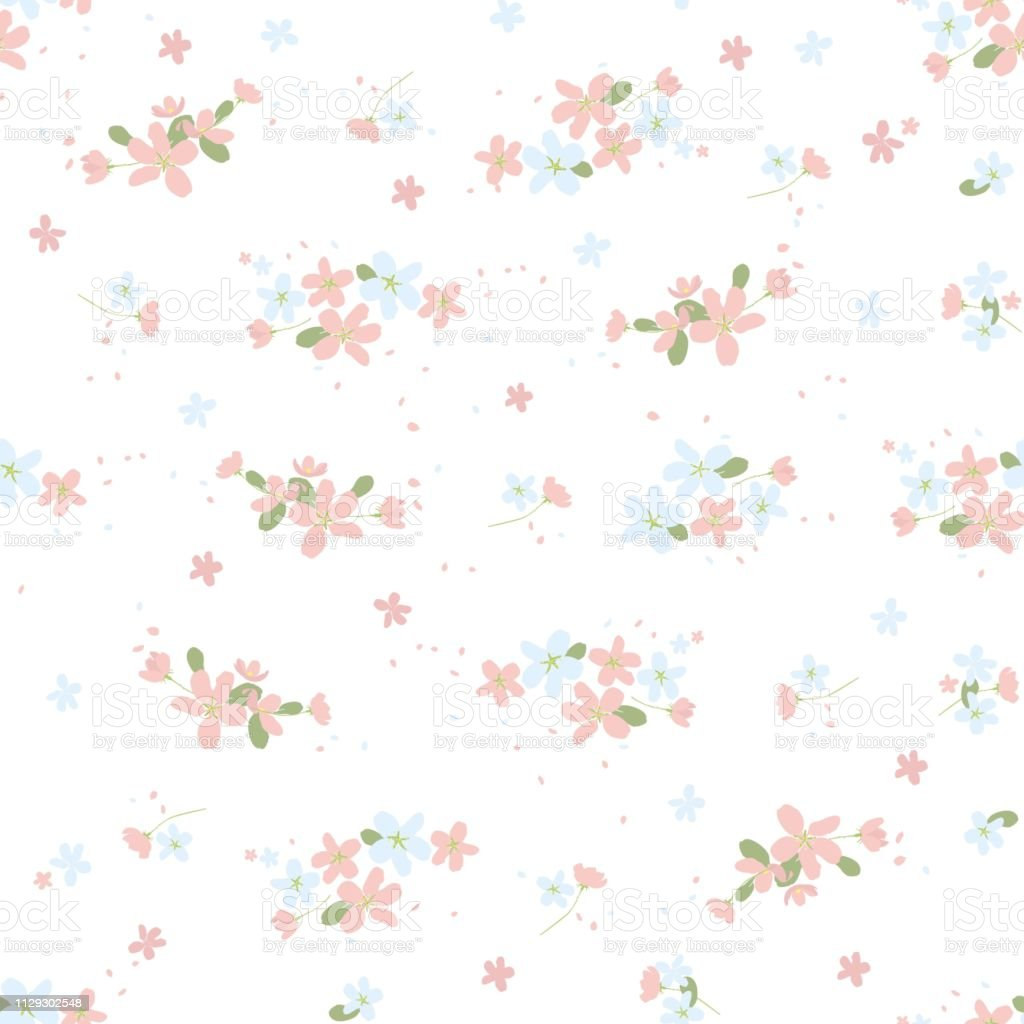 Seamless Floral Pattern With Small Cute Flowers On White ...