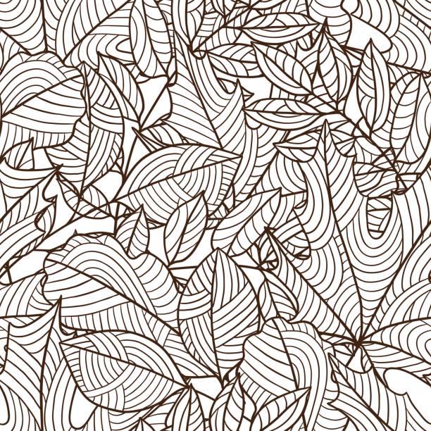 無縫花紋與程式化的秋葉。樹葉飄零 - 葉狀花紋 幅插畫檔、美工圖案、卡通及圖標