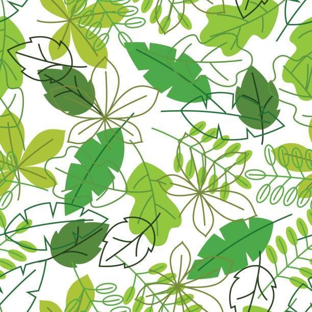 無縫的花卉圖案與程式化的綠葉。春天或夏天葉子 - 葉狀花紋 幅插畫檔、美工圖案、卡通及圖標