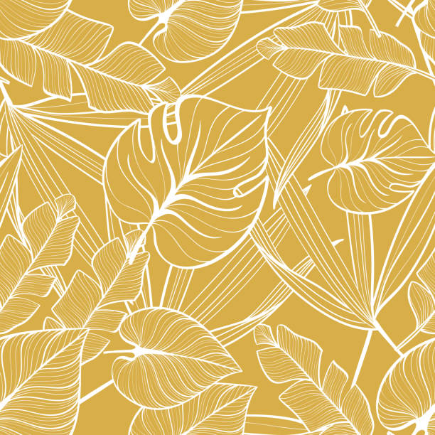 Seamless floral pattern with tropical leaves. Line drawing. Hand-drawn illustration. Seamless floral pattern with tropical leaves. Line drawing. Hand-drawn illustration. tropical pattern stock illustrations