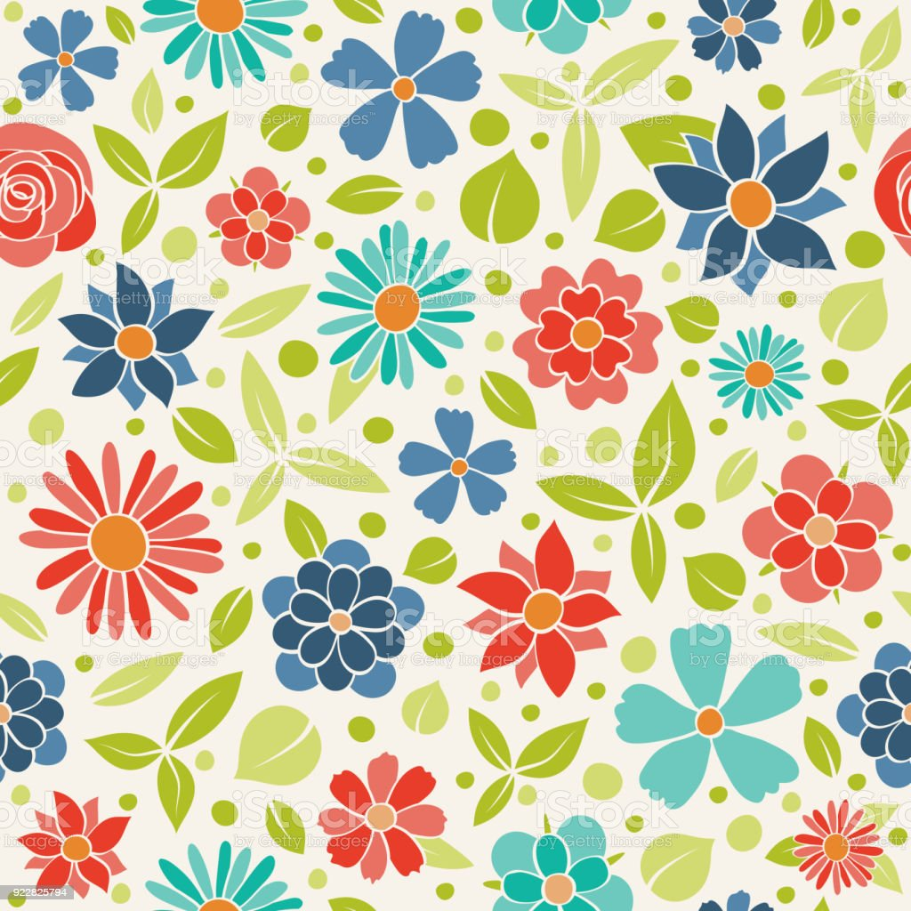 Seamless Floral Pattern Wrapping Paper With Cute Hand Drawn Flowers
