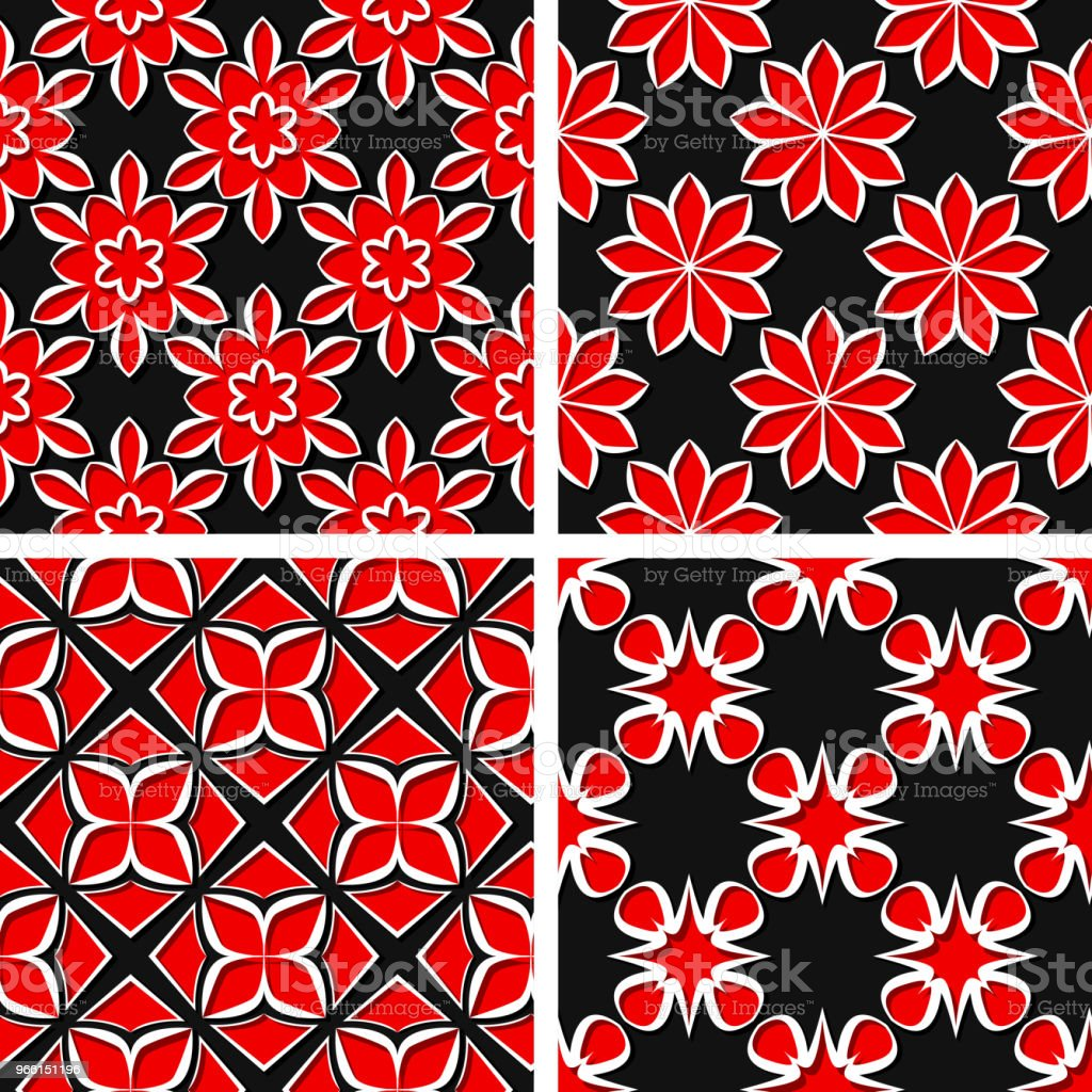 Seamless floral patterns. Set of black 3d backgrounds with red elements - Royalty-free Abstract stock vector