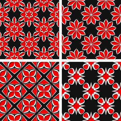 Naadloze Bloemenpatronen Set Van Zwart 3d Achtergronden Met Rode Elementen Stockvectorkunst en meer beelden van Abstract