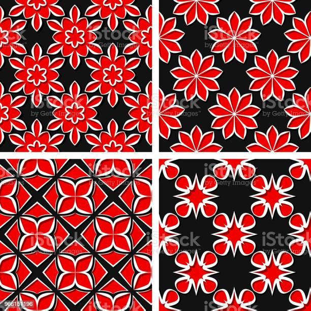 Sömlös Blommönster Uppsättning Av Svart 3d Bakgrunder Med Röda Inslag-vektorgrafik och fler bilder på Abstrakt