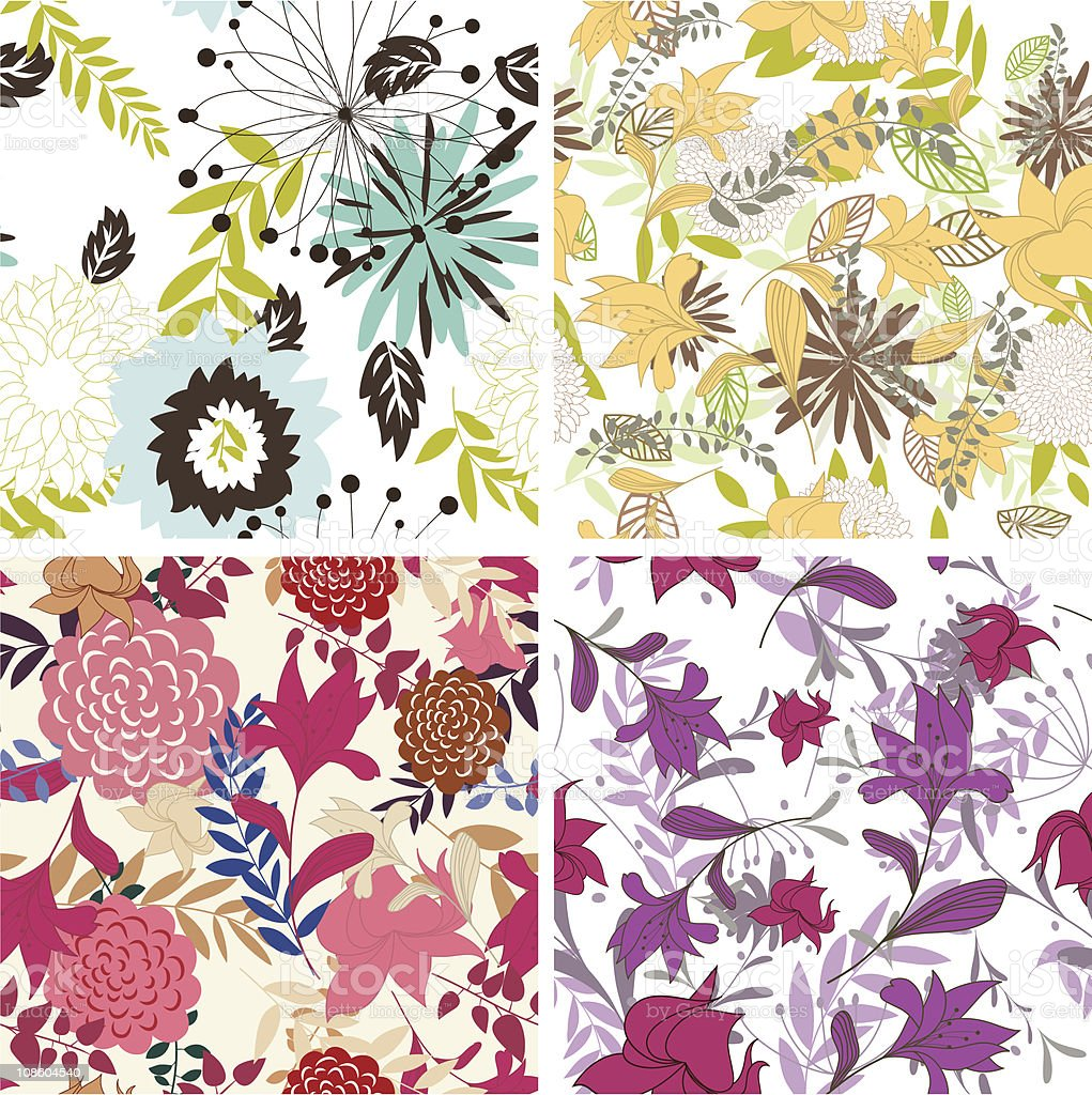 seamless floral patterns set royalty-free stock vector art