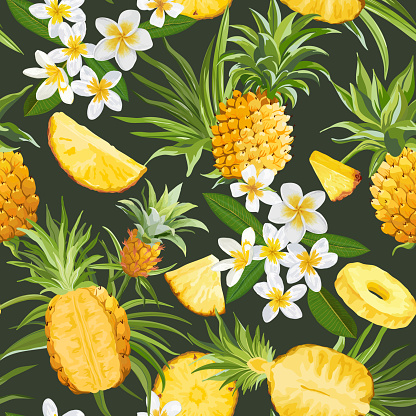 Seamless Floral Pineapple Vector Pattern, Plumeria Flowers Tropical Background, Palm Leaves, Fruit  Texture, Tropic Jungle Wallpaper, Colorful Fruits Backdrop, Hawaii Cover Design, Watercolor Textile