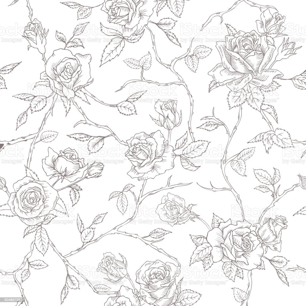 Seamless Floral Roses Background - texture, design, wallpaper - in...