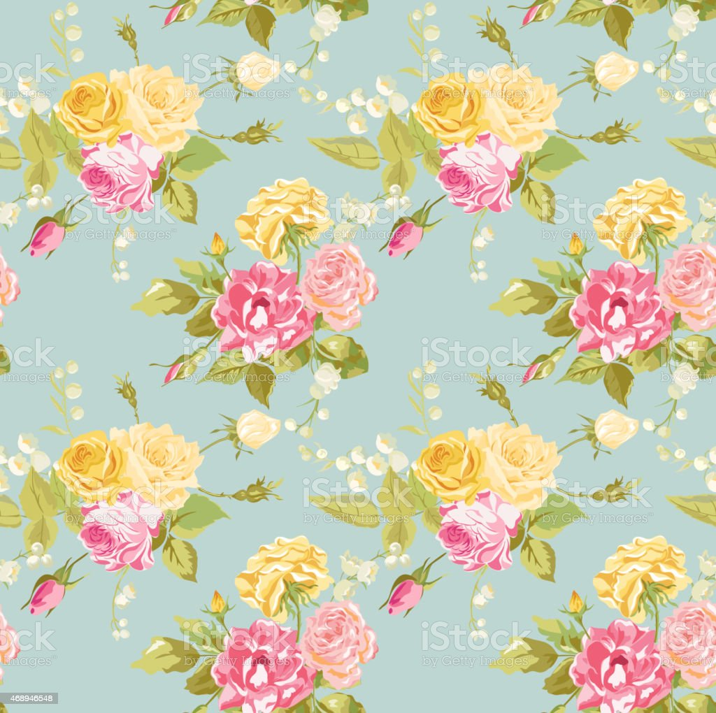 seamless floral shabby chic background vintage roses
