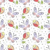 Seamless floral vector pattern. Colorful ornamental background with butterflies and roses. Decorative repeating ornament, Series of Floral and Decorative Seamless Pattern.