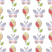 Seamless floral vector pattern. Symmetrical colorful ornamental background with butterflies and roses. Decorative repeating ornament, Series of Floral and Decorative Seamless Pattern.