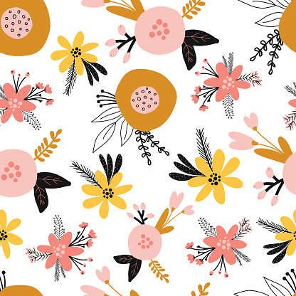 Seamless floral vector pattern with flat stylized Scandinavian flowers in pink gold yellow orange on a white background. Decorative retro print for kids fabric, surface decor, wallpaper, packaging