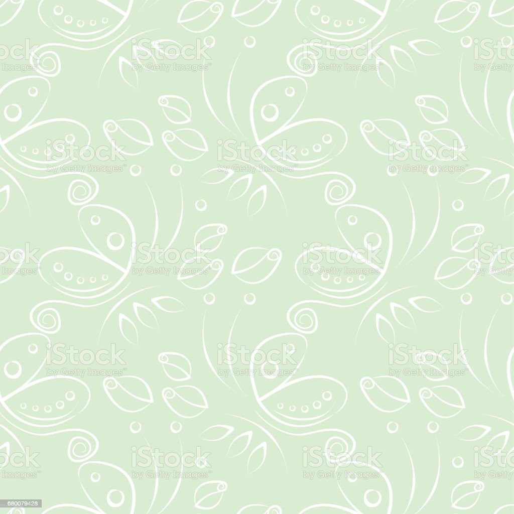 Seamless Floral Vector Pattern With Insect Decorative Pastel Green
