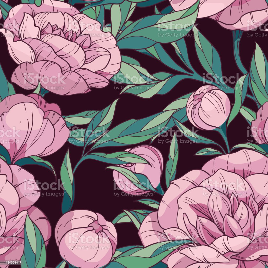 Seamless Floral Vector Pattern With Pink Peonies Flowers And Buds With Green Leaves On A Dark Background Hand Drawing For Decor Fabric Textile Wallpaper Wrapping Paper Stock Illustration Download Image Now