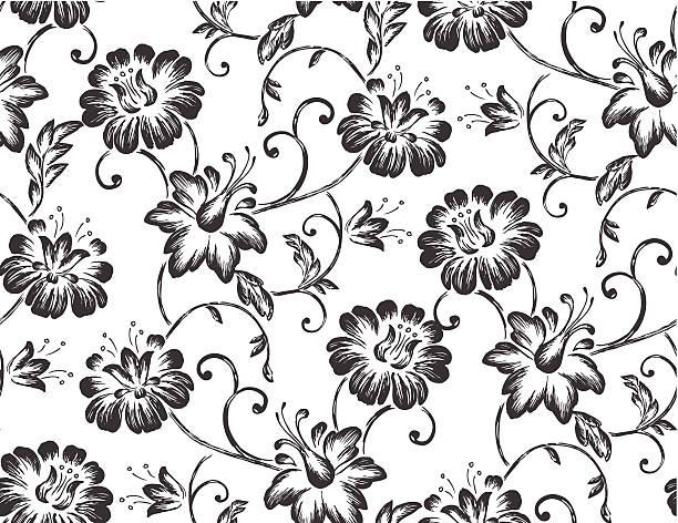 シームレスな花の壁紙-イラストレーション - ロココ調点のイラスト素材/クリップアート素材/マンガ素材/アイコン素材