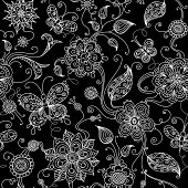 Black and white floral pattern with butterflies for your design. Large jpeg included.