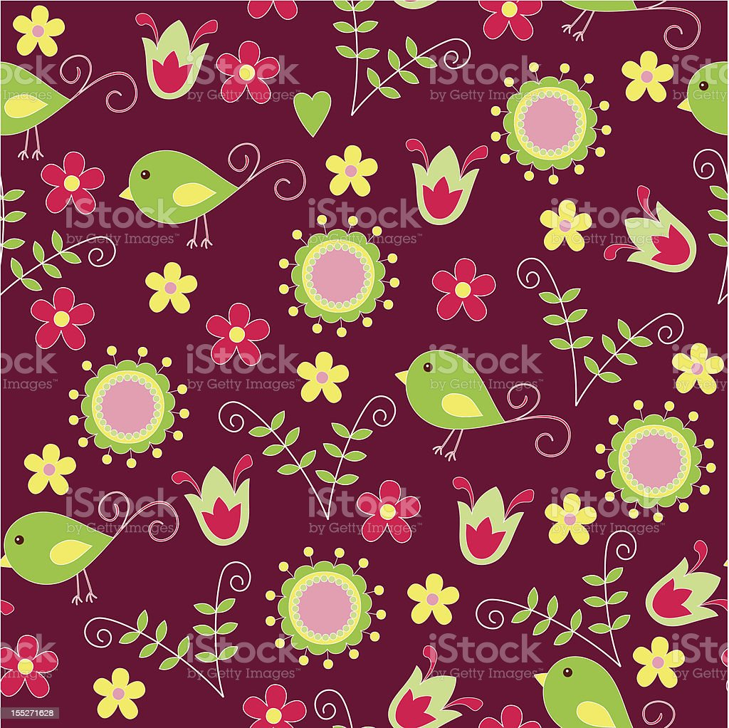 Seamless floral wallpaper royalty-free stock vector art