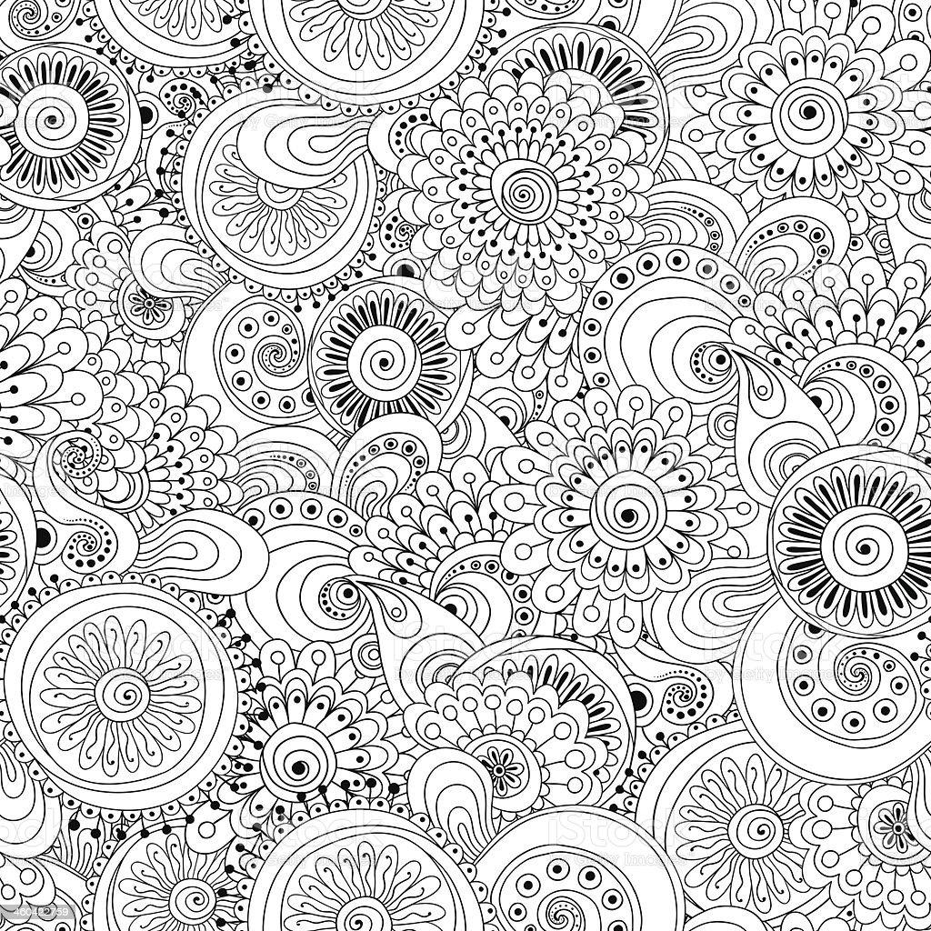 Seamless flower retro outline pattern background royalty-free stock vector art