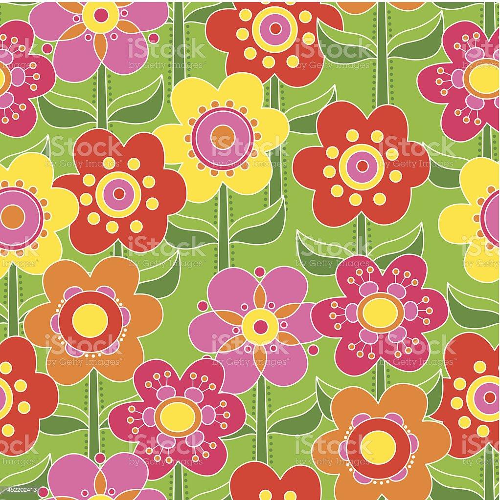 Seamless flowers vector art illustration