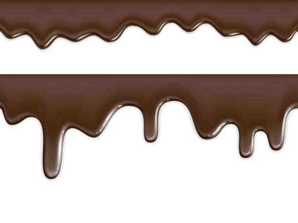nahtlos fließende schokoladen-textur auf weißem hintergrund - schokolade stock-grafiken, -clipart, -cartoons und -symbole
