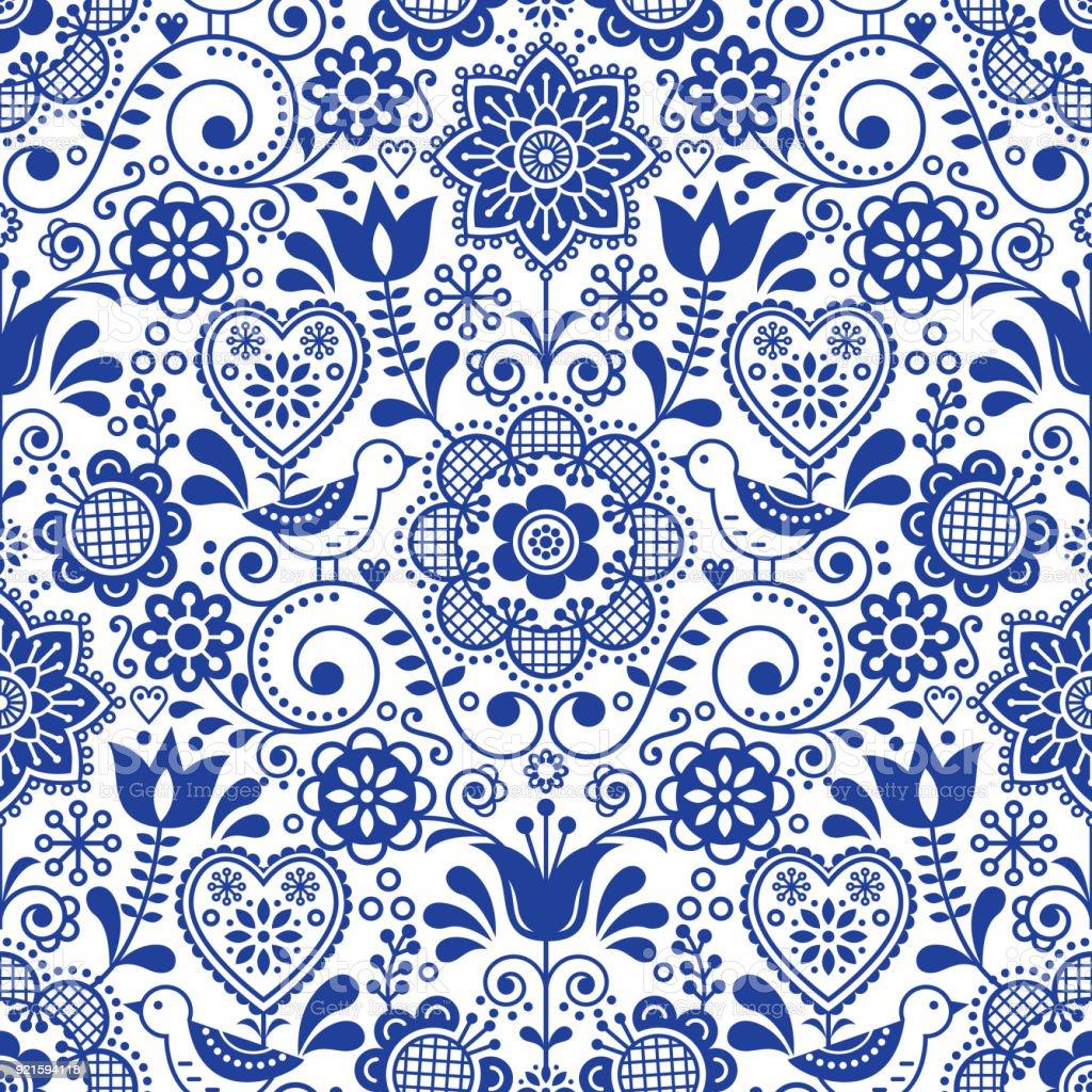 Seamless folk art vector pattern with birds and flowers, Scandinavian navy blue repetitive floral design vector art illustration