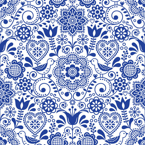 Seamless folk art vector pattern with birds and flowers, Scandinavian navy blue repetitive floral design Retro style navy blue ornament, Scandi endless background perfect for textile design, wallpaper norway stock illustrations