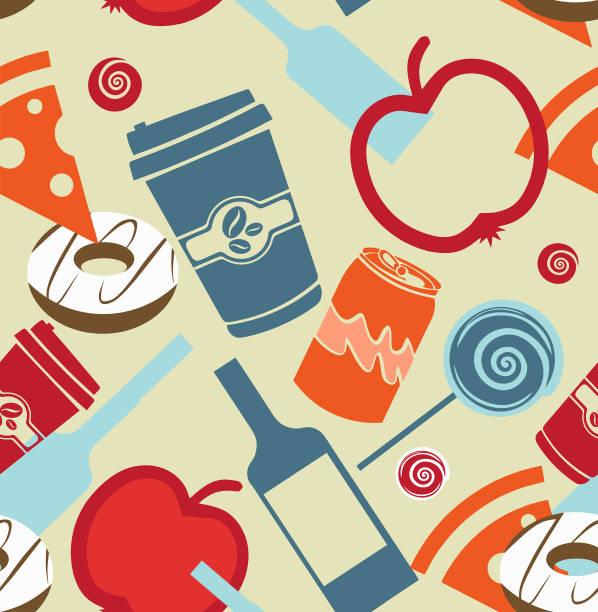 Seamless food and liquor vector art illustration