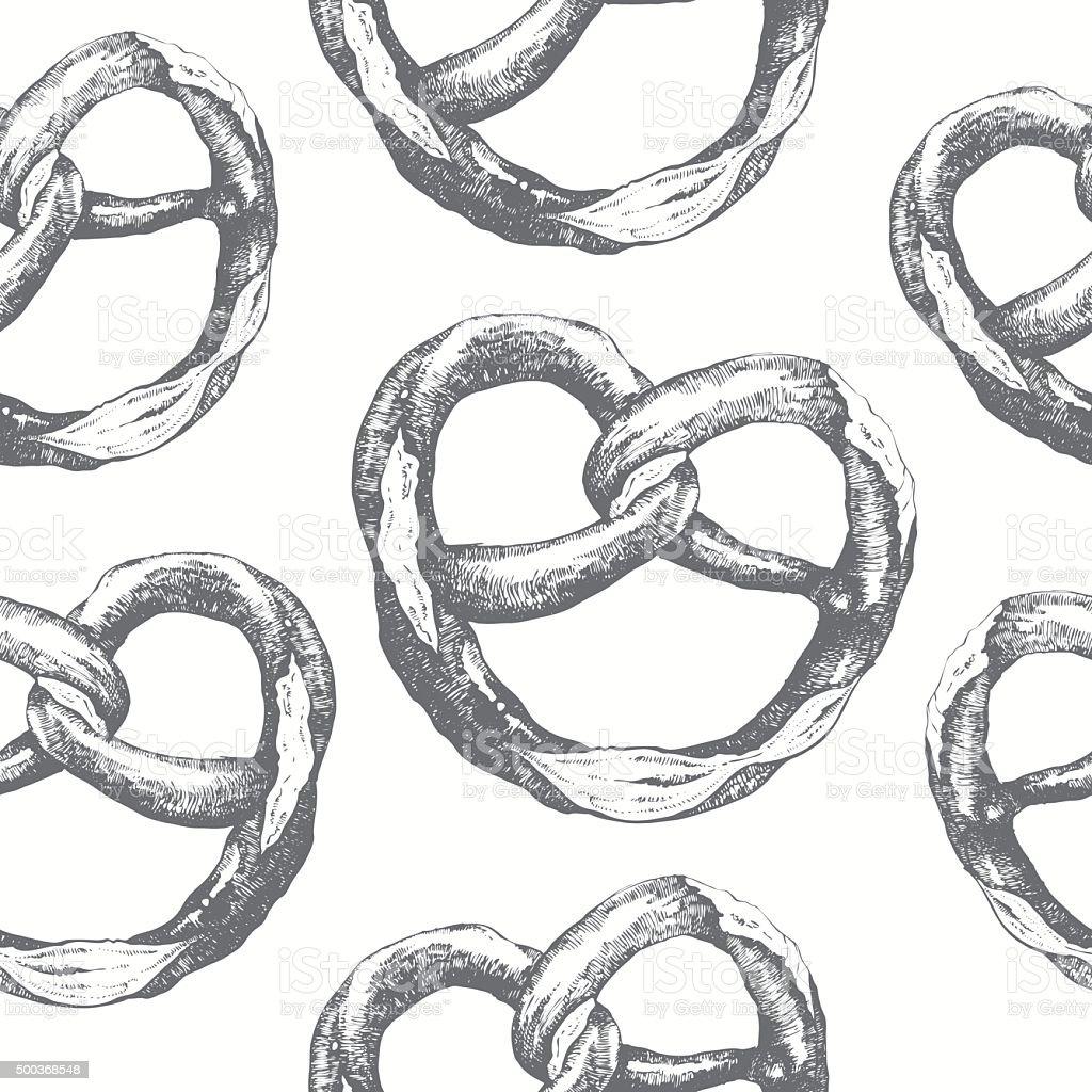Seamless food background with pretzel. Fresh organic food. vector art illustration