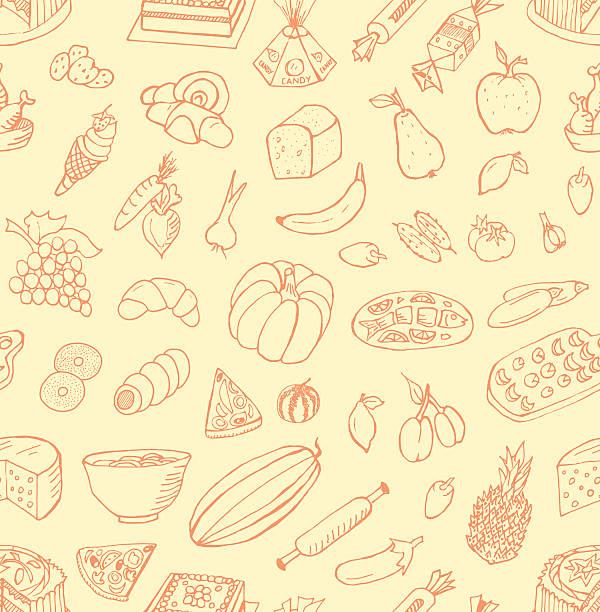 seamless food doodles - pflaumenkuchen stock-grafiken, -clipart, -cartoons und -symbole
