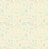 Seamless food doodles. Vector illustration. Different types of food.