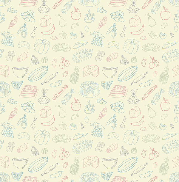 seamless food doodles - フランス料理点のイラスト素材/クリップアート素材/マンガ素材/アイコン素材