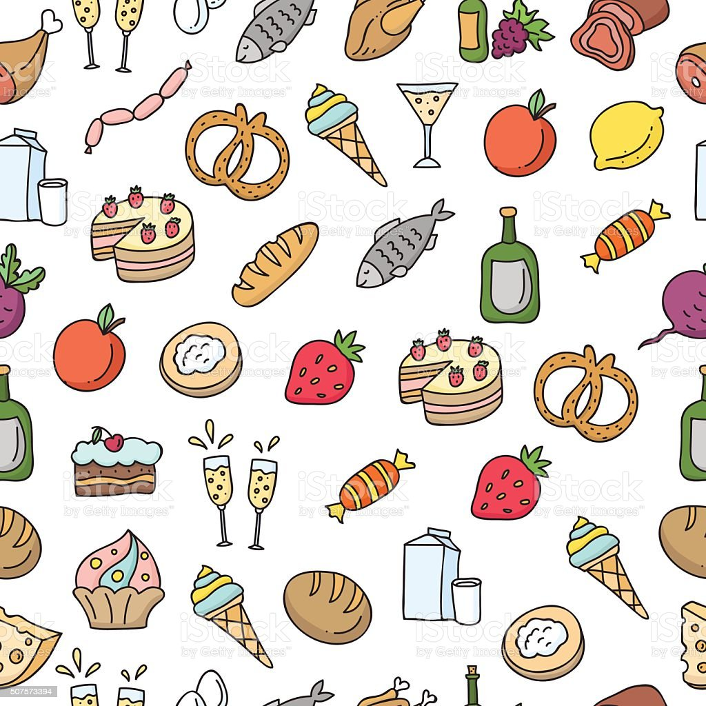seamless food pattern healthy eating vector background