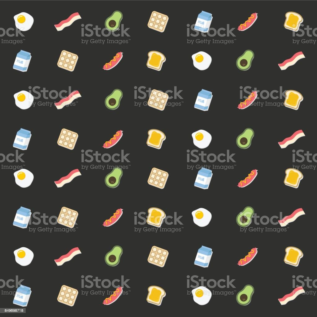 Seamless food pattern vector vector art illustration