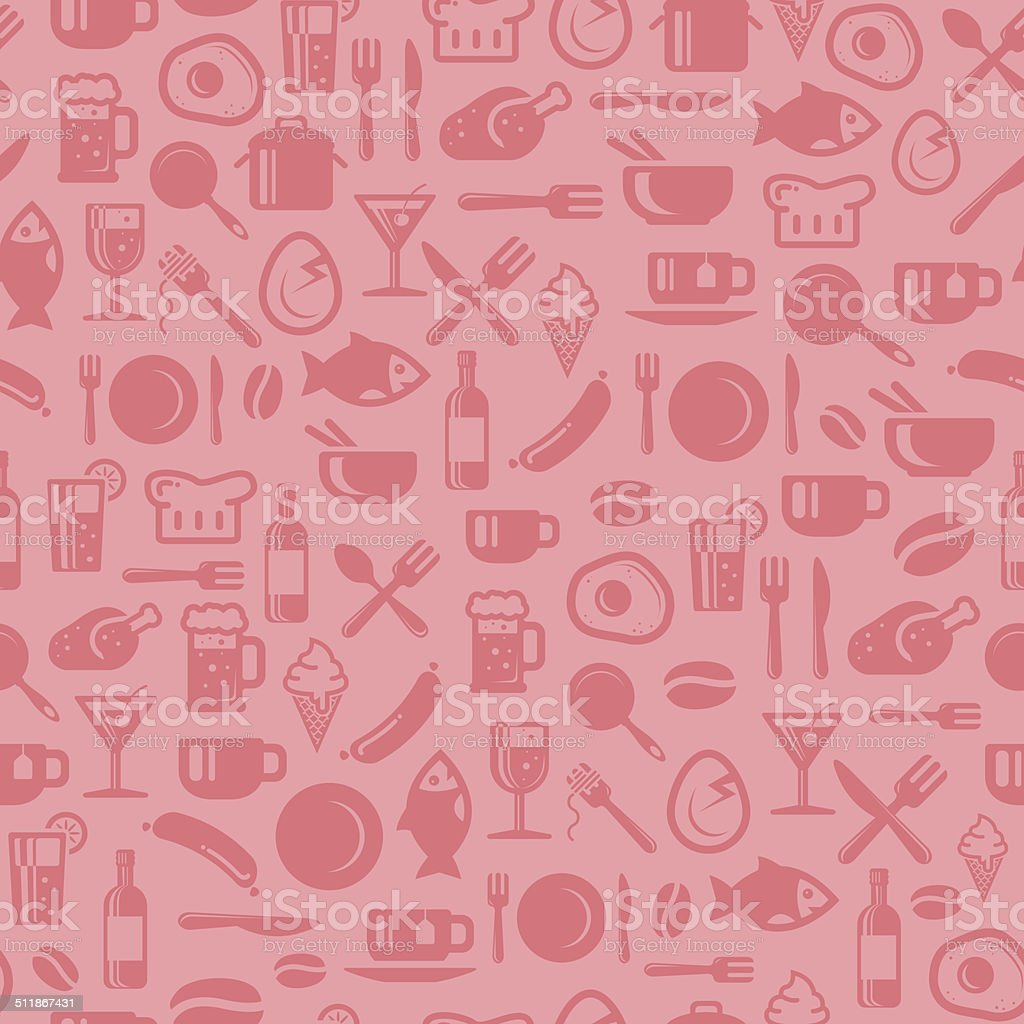 Seamless foods pattern vector art illustration
