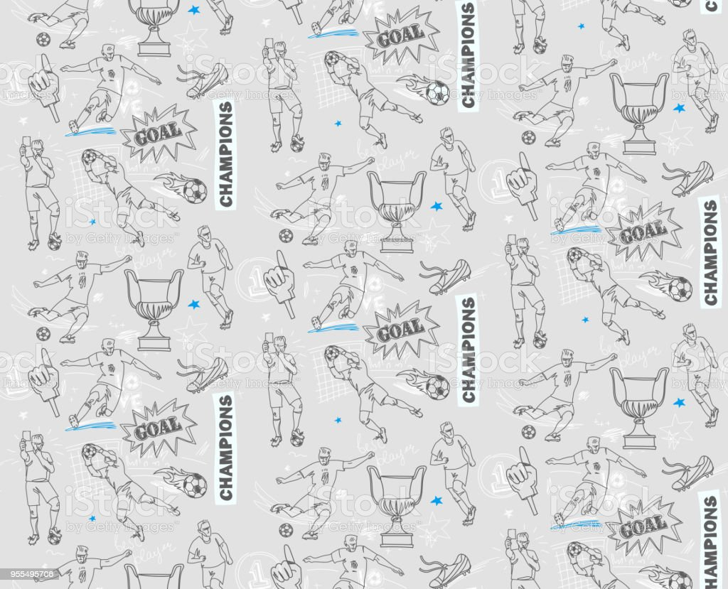 Seamless football pattern with soccer player. Soccer vector...