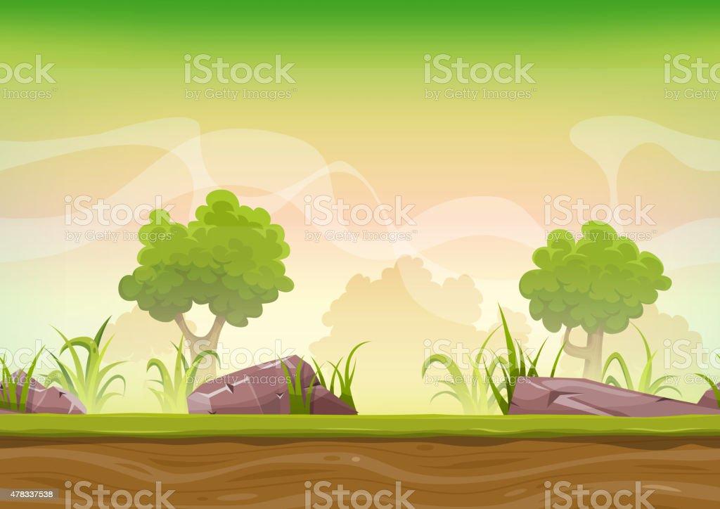 Seamless Forest Landscape For Ui Game vector art illustration
