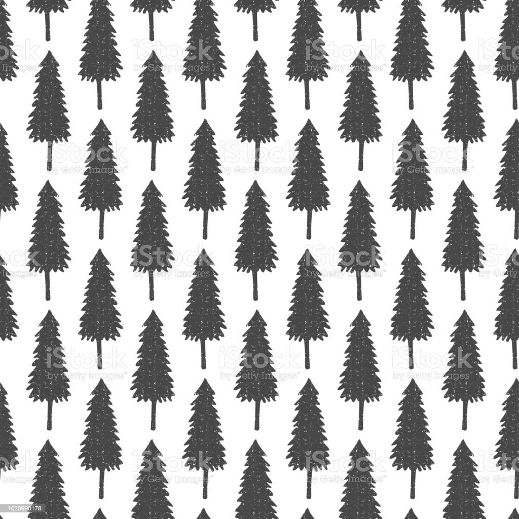 Seamless forest pattern with hand drawn fir trees. Decorative...
